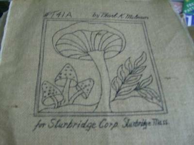 Pearl McGown Mushroom Rug Hooking Burlap Cloth 6.5x6.5 Inches Your Choice- T41-