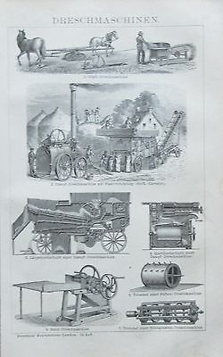 DRESCHMASCHINEN 1892 original Druck antik Lithografie antique print