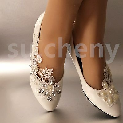 White ivory lace Narcissus pearls crystal Wedding shoes flats Bridal size 5-12