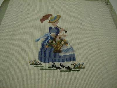 Finished Lady With Parasol (Umbrella) Needlepoint Picture 11.75x12.25 Inches