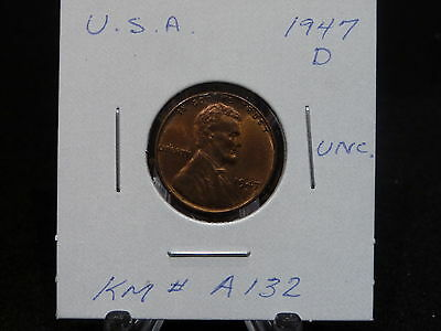 United States:   1947 D  Lincoln Wheat Cent Coin  (Unc.) (#17)  Km # A132