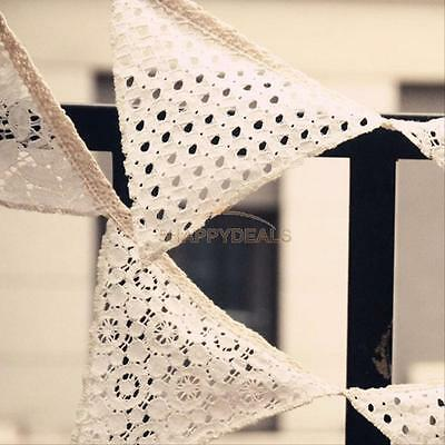2.5M White Cotton Lace Flag Banner Bunting Pennant Wedding Birthday Party Decor