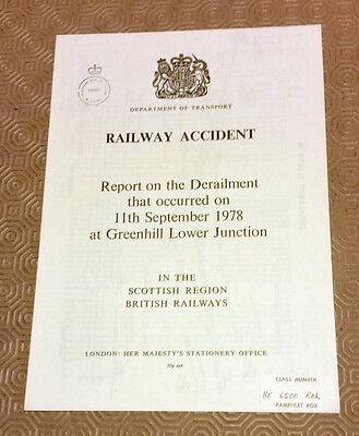 Railway Accident Report Derailment DMU Greenhill Lower Jn 11th September 1978