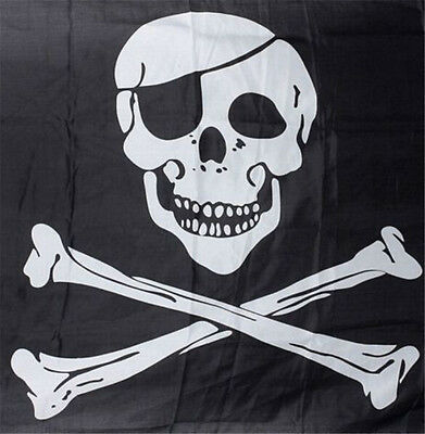 FD3237 Pirate Skull Crossbones Cross Bones Jolly Roger Banner Flag Eyelet ✿