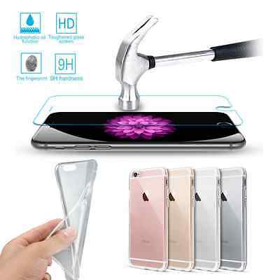 9H Tempered Glass Screen Protector+TPU Silicone Case Cover For Apple iPhone
