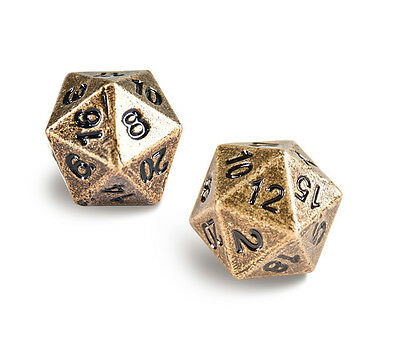 Ultra Pro -  D20 Heavy Metal Dice Set of two (2) - Antique Metal Finish