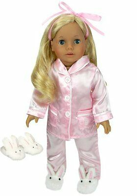 "Sophia Doll Clothes New Pink Satin Pajamas Slippers Fits American Girl 18"" Doll"