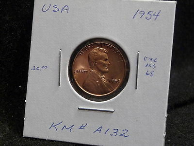 Usa:   1954  Lincoln Wheat Cent Coin  (Unc.) (#33)    Km # A132