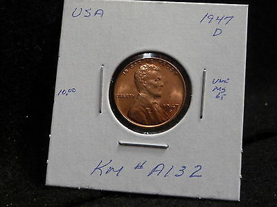 Usa:   1947 D  Lincoln Wheat Cent Coin  (Unc.) (#35)    Km # A132