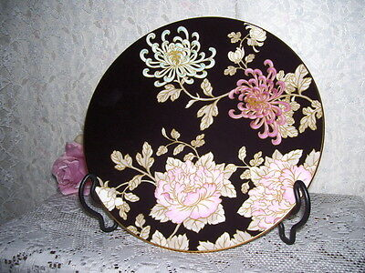 Lenox Camellia Plate Striking Black With Pink And Blue Flowers Marchesa