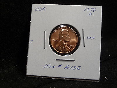 Usa:   1956 D   Lincoln Wheat Cent Coin  (Unc.)   (#72)    Km # A132