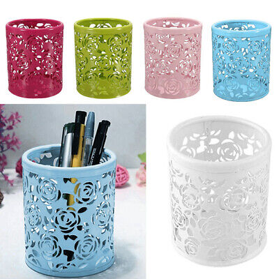 Metal Hollow Rose Flower Cylinder Pen Pencil Pot Makeup Brushes Holder Container