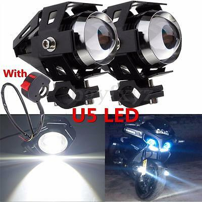 2x 125W Motorcycle Motorbike LED U5 Headlight Driving Fog Spot Light Bulb Switch