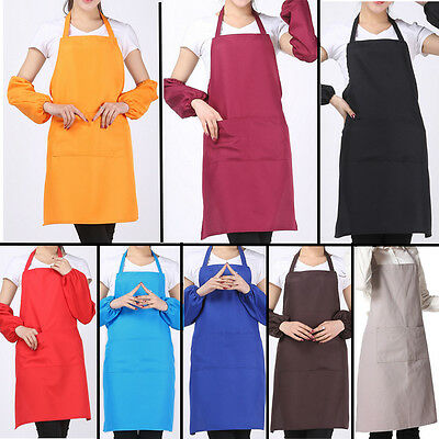 2016 New Plain Apron With Front Pocket For Chefs Kitchen Cooking Craft Baking