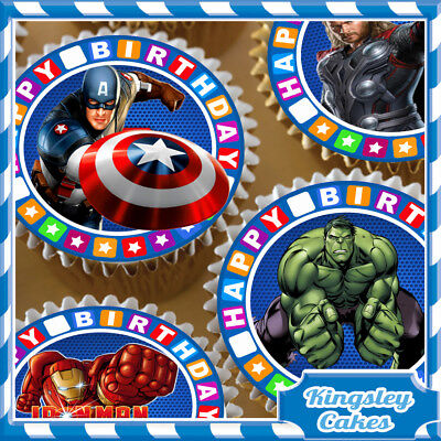 24 x AVENGERS SUPER HEROS BIRTHDAY - EDIBLE CUPCAKE TOPPERS RICE PAPER 635321-24