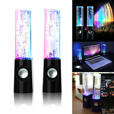 2x USB Water Dancing Fountain Stereo Speakers Set for PC Laptops Tablets Mobiles