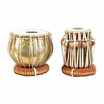 Top-grade Embossed Brass Indian Tabla Drum Set with Hardcase