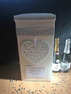 "Personalised Wedding Card Post Box - ""Bling"", Diamante, Hanging White Heart"