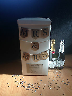 "Personalised Wedding Card Post Box - ""Mrs & Mrs"" Rustic Bunting (More Colours)"