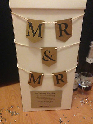 "Personalised Wedding Card Post Box - ""Mr & Mr"" Rustic Bunting (More Colours)"