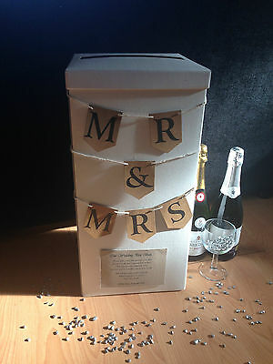 "Personalised Wedding Card Post Box - ""Mr & Mrs"" Rustic Bunting (More Colours)"
