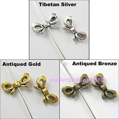 70Pcs New Charms Tibetan Silver Gold Bronze Butterfly-Bow Spacer Beads 6x12mm