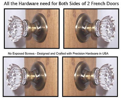 Crystal French Door Knob Sets: Rousso's Reproduction for both sides of two doors