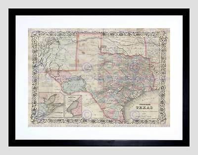 Map Illustrated Antique Colton Texas Black Framed Art Print B12X4927