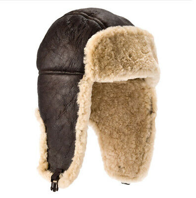 Lambland Mens Aviator Finished Sheepskin Flying Hat with Push Clip Fastening