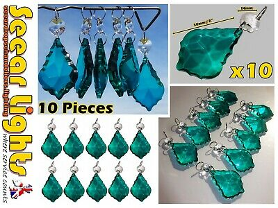 6 Chandelier Glass Crystals Peacock Green Leaf Drops Christmas Tree Decorations