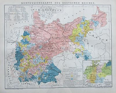 1892 KONFESSIONSKARTE DEUTSCHES REICH Original Landkarte antique map Litho