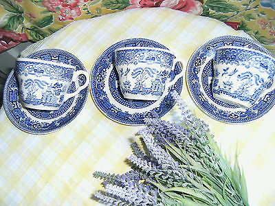 Vintage 3 Swinnertons Old Willow Pattern saucers & 3 Cups Mismatched Mixed China