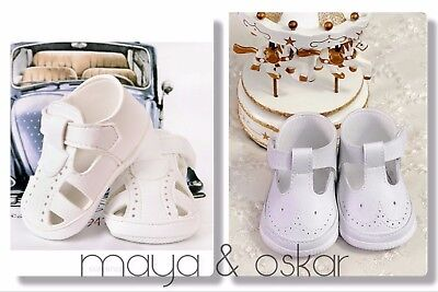 Baby Boys White Leather Pram Shoes Christening Baptism Smart T Bar Little Prince