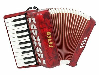 Fever Piano Accordion 22 Keys 8 Bass, Color Red, Model F228-RD