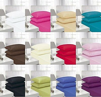 New Luxury Palin Dyed Polycotton Fitted Sheet All Size Single Double King S King