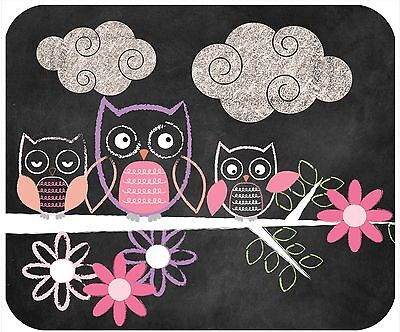Mouse Pad Custom Personalized Thick Mousepad-Chalkboard Owls - Add Your Text