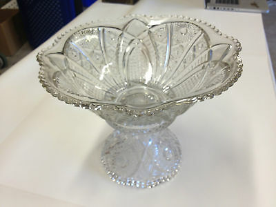 Antique Crystal Punch Fruit Bowl Compote Centerpiece
