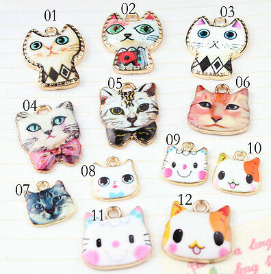 Lot cute color cat cartoon Metal Charms DIY Jewelry Making Pendants kids gifts