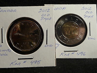 Canada:  2012   2 Dollars & Dollar Old Style  No Security Device  (Unc)  (#1-3)