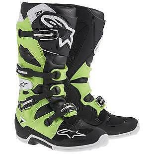 NEW Alpinestars Tech 7 Boots Black Green from Moto Heaven