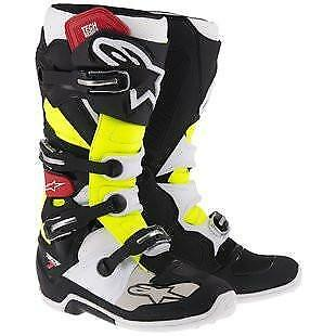 NEW Alpinestars Tech 7 Boots Black Red Yellow from Moto Heaven