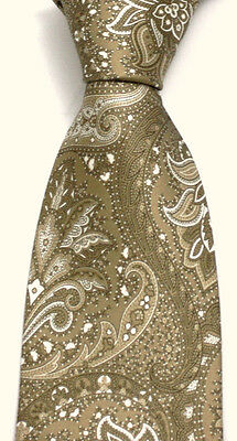 New Men's BRIONI Beige Ivory Damask Paisley Extra Fine Woven Silk Neck Tie