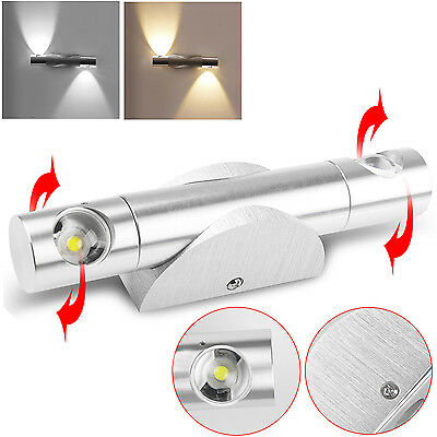 Modern 360° Rotate 2W 6W Up Down LED Wall Light Indoor Sconce Mirror Spot Light
