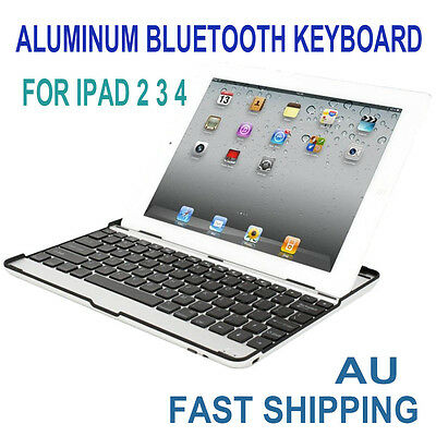 Aluminum Wireless Bluetooth Keyboard Case Cover for Apple iPad 2 3 4 Black