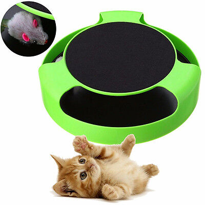 Pet Cat Motion Moving Mouse Cage Toy Interactive Training Scratchpad Catch Board