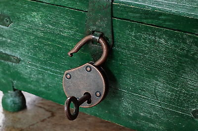 Old Vintage Antique Style Small  Padlock With Keys--Antique Copper Color