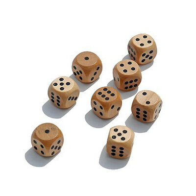 6x Dice Wooden Traditional Board-Games Drinking Pub Natural Wood 1.6cm IK1