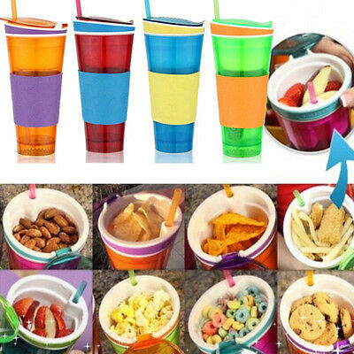 Kids 2 in 1 Travel Snack Drink Lid Straw Bottle Straw Cups as Seen On TV Hot