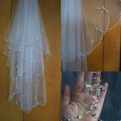 New 2 Layer Ivory/White Bridal Wedding Veil Lace Edge With Comb Elbow length