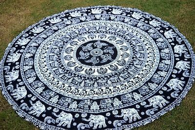 Round Mandala Indian Bohemian Elephant Peacock Tapestry Beach Picnic Throw Rug